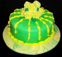 Green and Yellow Carnations Cake