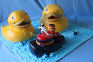 Sculpted Ducks and Boat Cake