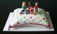 Handmade Sugar Girls on the Pillow Cake