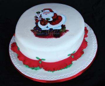 Santa Clauss Hand Painted Cake